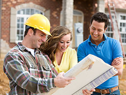 Construction worker and home buyers